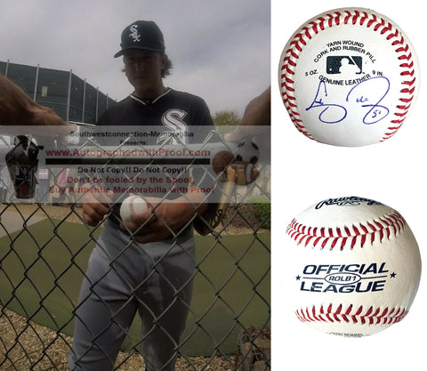 Baseballs- Autographed- Carson Fulmer Signed Rawlings ROLB1 Baseball - Chicago White Sox- Pittsburgh Pirates- Proof Collage 3