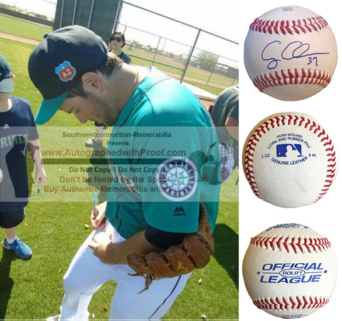 Baseballs- Autographed- Casey Coleman Signed Rawlings ROLB1 Leather Official League Baseball- Proof Photo- Seattle Mariners- Kansas City Royals- Houston Astros- Collage 1
