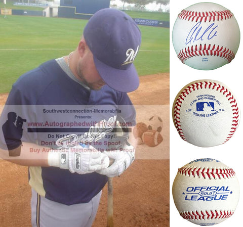 Baseballs-Autographed - Casey McGehee Signed Rawlings ROLB1 Leather Baseball, Proof Photo- Milwaukee Brewers- New York Yankees - Collage- 4