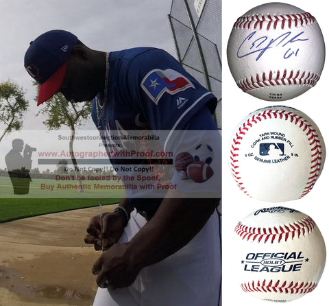 Baseballs- Autographed- C.D. Pelham Signed Rawlings ROLB1 Baseball Proof Photo- Chicago Cubs - Texas Rangers- Collage- 1