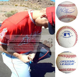 Baseballs-Autographed - Chad Hinshaw Signed Rawlings ROLB1 Leather Baseball, Proof Photo- Los Angeles Angels- Collage- 1