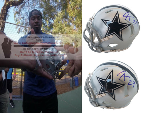 Helmets- Autographed- Chidobe Awuzie Signed Dallas Cowboys Riddell Speed Mini Football Helmet, Proof Collage 1