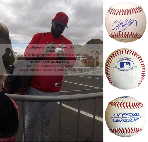 Baseballs-Autographed -  Chris Carter Signed Rawlings ROLB Leather Baseball, Proof Photo- Los Angeles Angels- New York Yankees- Collage- 1