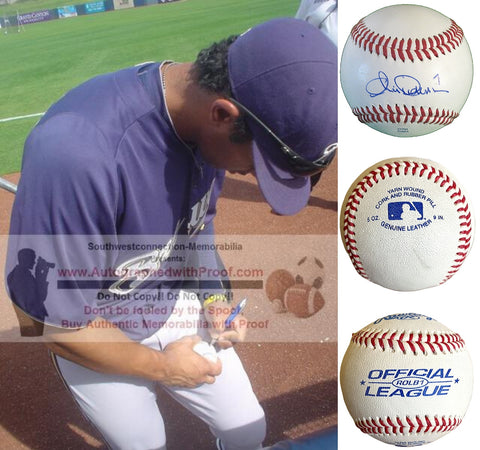 Baseballs-Autographed - Chris Dickerson Signed Rawlings ROLB1 Leather Baseball, Proof Photo- New York Yankees- Milwaukee Brewers- Collage- 2