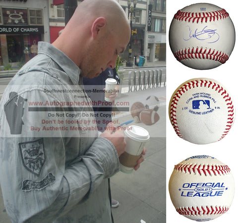 Baseballs- Autographed- Chris Gimenez Signed Rawlings ROLB1 Leather Baseball- Tampa Bay Rays- Texas Rangers- Proof Photo- Collage 1
