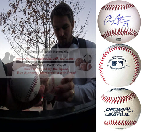 Baseballs- Autographed- Chris Stratton Signed Rawlings ROLB1 Baseball Proof Photo- Pittsburgh Pirates- San Francisco Giants- Collage- 2