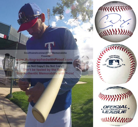 Baseballs- Autographed- Chris Woodward Signed Rawlings ROLB1 Baseball Proof Photo- Texas Rangers- Collage- 2