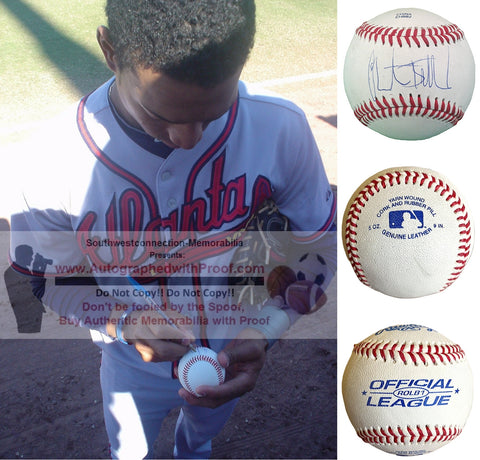 Baseballs-Autographed - Christian Bethancourt Signed Rawlings ROLB1 Leather Baseball, Proof Photo- San Diego Padres- Atlanta Braves- Collage- 2