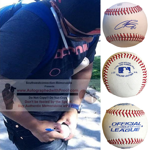 Baseballs-Autographed - Christian Colon Signed Rawlings ROLB1 Leather Baseball, Proof Photo- Miami Marlins- Kansas City Royals- Collage- 3