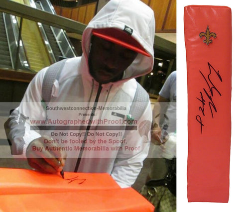 Football End Zone Pylons-Autographed - C.J. Spiller Signed New Orleans Saints Football Pylon- Clemson Tigers- Proof- Collage- 2