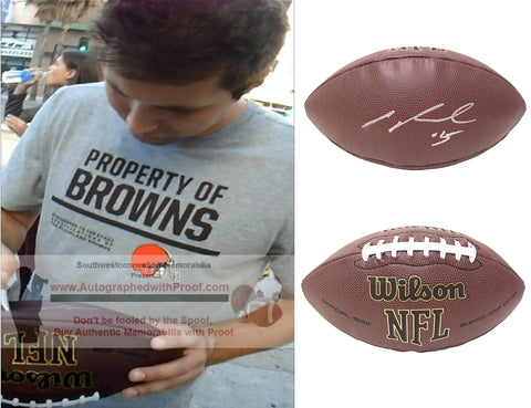 Football-Autographed - Cody Kessler Signed NFL Wilson Composite Football, Proof Photo- New England Patriots- Cleveland Browns- Jacksonville Jaguars- USC Trojans- Collage 1