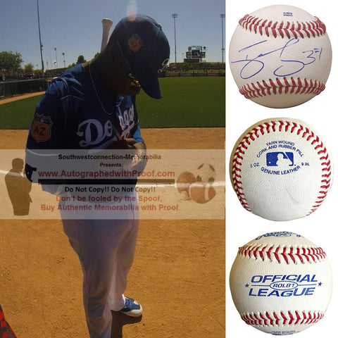 Baseballs-Autographed - Darnell Sweeney Signed Rawlings ROLB1 Leather Baseball, Proof Photo- Pittsburgh Pirates- Los Angeles Dodgers- Collage 1