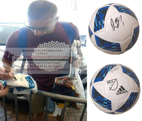 Soccer-Autographed - David Bingham Signed Adidas MLS Logo White Soccer Ball, Proof Photo Collage 1