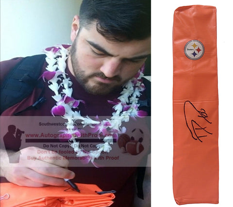 Football End Zone Pylons-Autographed - David DeCastro Signed Pittsburgh Steelers TD Pylon- Stanford Cardinal- Proof- Collage 1