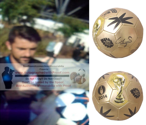 Soccer-Autographed - David Villa Signed 2014 FIFA World Cup Gold Soccer Ball, Proof Photo Collage 1