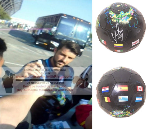 Soccer-Autographed - David Villa Signed 2014 FIFA World Cup Black Soccer Ball, Proof Photo Collage 1