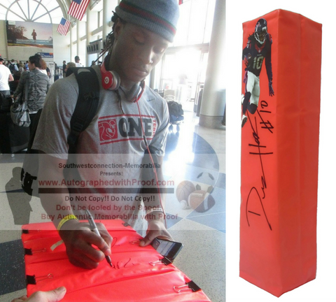 Football End Zone Pylons-Autographed - DeAndre Hopkins Signed Houston Texans Photo TD Pylon, Proof- Collage- 4