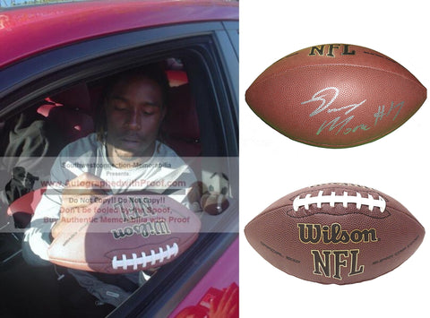 Football-Autographed - Denarius Moore Signed NFL Wilson Composite Football, Proof Photo- Las Vegas Raiders- Buffalo Bills- UT Vols- Tennessee Volunteers- Collage- 2