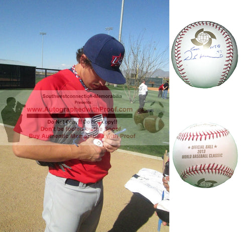 Baseballs-Autographed - Derek Holland Signed Rawlings 2013 World Baseball Classic Baseball, Proof - Pittsburgh Pirates - Texas Rangers - Collage 1