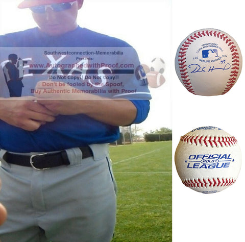 Baseballs-Autographed - Derek Holland Signed Rawlings ROLB1 Leather Baseball, Proof Photo- San Francisco Giants- Texas Rangers- Pittsburgh Pirates- Collage- 2