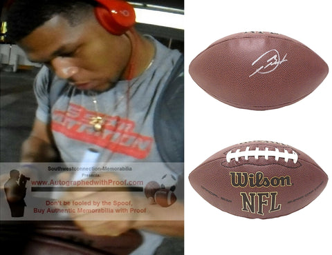 Football-Autographed - Devontae Booker Signed NFL Wilson Composite Football- Proof Photo- Las Vegas Raiders - Denver Broncos- Utah Utes- Collage- 2