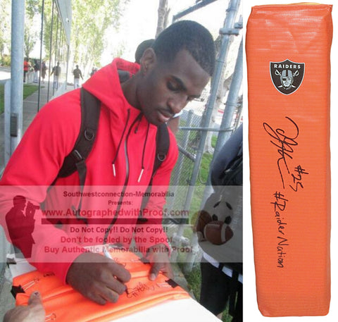 Football End Zone Pylons-Autographed - D.J. Hayden Signed Oakland Raiders Football TD Pylon- Las Vegas Raiders- Houston Cougars- Proof Photo- Collage- 1