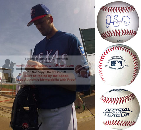 Baseballs- Autographed- Drew Smyly Signed Rawlings ROLB1 Leather Baseball - San Francisco Giants - Texas Rangers - Proof Photo - Collage 2