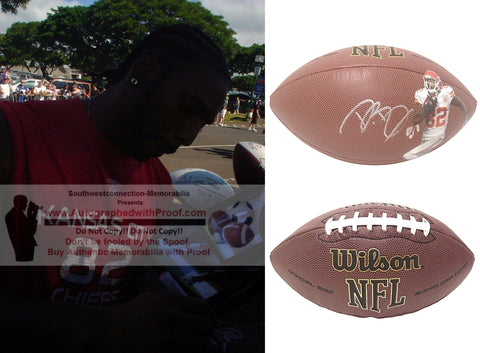 Football-Autographed - Dwayne Bowe Signed NFL Wilson Kansas City Chiefs Photo Football- LSU Tigers- Proof Photo- Collage- 3