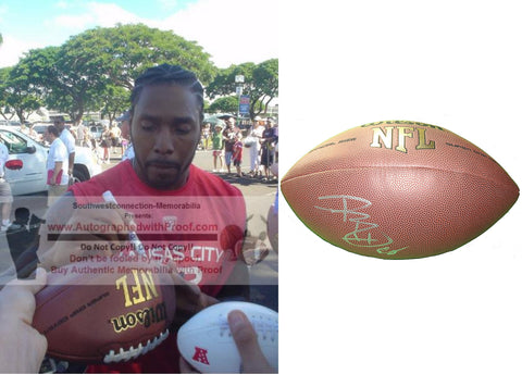 Football-Autographed - Dwayne Bowe Signed NFL Wilson Composite Football, Proof Photo- Cleveland Browns- Kansas City Chiefs- LSU Tigers- Collage- 4