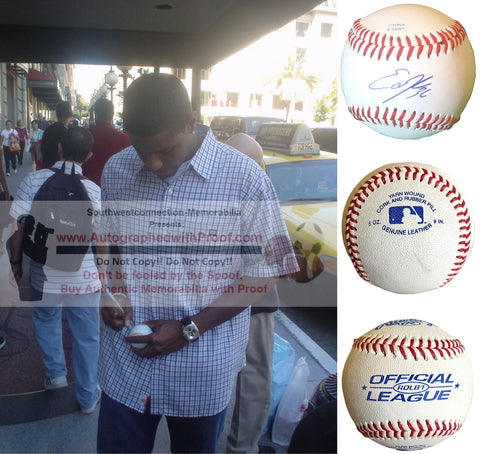 Baseballs- Autographed- Edwin Jackson Signed ROLB Leather Baseball, Proof- Oakland A's Athletics- Chicago White Sox- Collage- 3