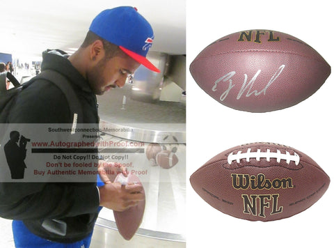 Football-Autographed - EJ Manuel Signed NFL Wilson Composite Football, Proof Photo- Buffalo Bills- Kansas City Chiefs- Florida State Seminoles- FSU- Collage- 1
