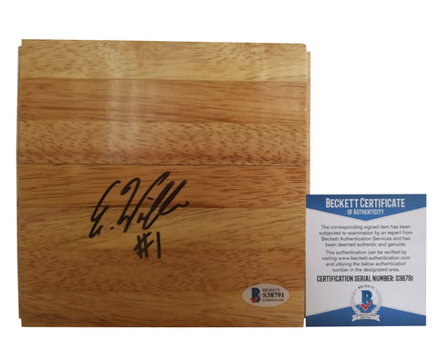 Basketballs-Autographed - Elizabeth Williams Signed 6x6 Parquet Basketball Floor, Proof - Beckett BAS 2