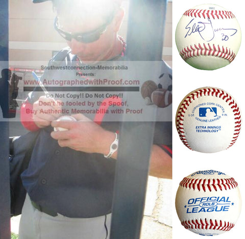 Baseballs-Autographed - Elliot Johnson Signed Rawlings ROLB Leather Baseball, Proof Photo - Tampa Bay Rays - Cleveland Indians - Collage 1