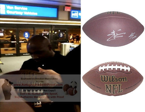 Football-Autographed - Elvis Dumervil Signed NFL Wilson Composite Football, Proof Photo- Baltimore Ravens- Denver Broncos- Louisville Cardinal- Collage 2
