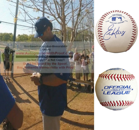 Baseballs-Autographed - Eric Karros Signed Rawlings ROLB1 Leather Baseball, Proof Photo- Los Angeles Dodgers- Chicago Cubs- Collage 1