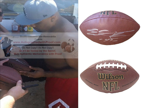Football-Autographed - Everson Griffen Signed NFL Wilson Composite Football, Proof Photo- Detroit Lions- Minnesota Vikings- USC Trojans- Collage- 2