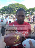 Football-Autographed - Dwayne Bowe Signing NFL Wilson Composite Football, Proof Photo