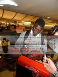 Football-Autographed - Justin Blackmon Signing NFL Wilson Composite Football, Proof Photo