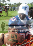 Football-Autographed - Leon Washington Signing NFL Wilson Composite Football, Proof Photo