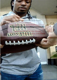 Football-Autographed - Paul Perkins Signing NFL Wilson Composite Football, Proof Photo