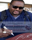 Football-Autographed - Quinton Aaron Signing NFL Wilson Football W/ Inscription, Proof Photo