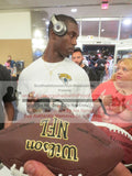 Football-Autographed - T.J. Yeldon Signing NFL Wilson Composite Football, Proof