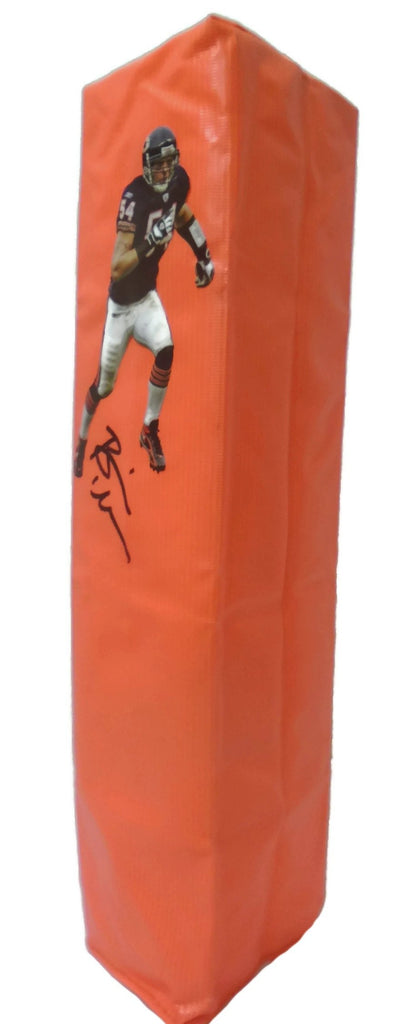 Football End Zone Pylons-Autographed- Brian Urlacher Signed Chicago Bears Photo TD Pylon, Proof