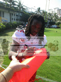 Football End Zone Pylons-Autographed - Jamaal Charles Signing K.C. Chiefs Football TD Pylon, Proof