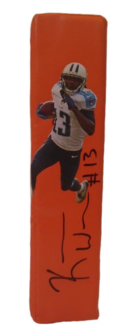 Football End Zone Pylons-Autographed - Kendall Wright Signed Tennessee Titans Photo TD Pylon, Proof
