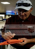 Football End Zone Pylons-Autographed - Mark Rypien Signing Super Bowl XXVI Football TD Pylon, Proof