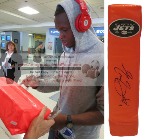 Football End Zone Pylons-Autographed - Geno Smith Signed New York Jets Football Pylon, Proof- Collage- 3