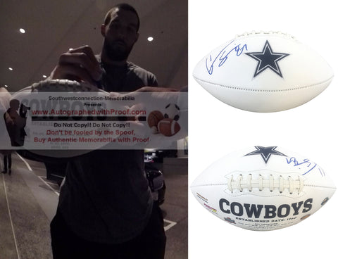 Football- Autographed- Geoff Swaim Signed Dallas Cowboys Embroidered Logo Football, Proof Photo- Collage- 1