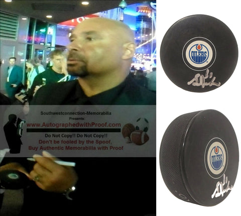Hockey Pucks-Autographed - Grant Fuhr Signed Edmonton Oilers Logo Hockey Puck, Proof Photo- Collage 2
