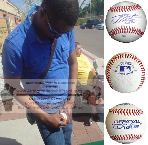 Baseballs-Autographed - Guillermo Mota Signed Rawlings ROLB1 Leather Baseball, Proof Photo- San Francisco Giants- Los Angeles Dodgers-Collage- 1